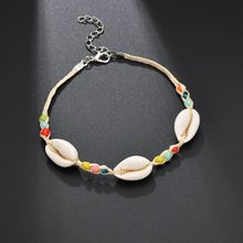 Hello Miss Fashion Bohemian National Style Mixed Color Beads Bracelet Natural Shell Anklet Womens Jewelry