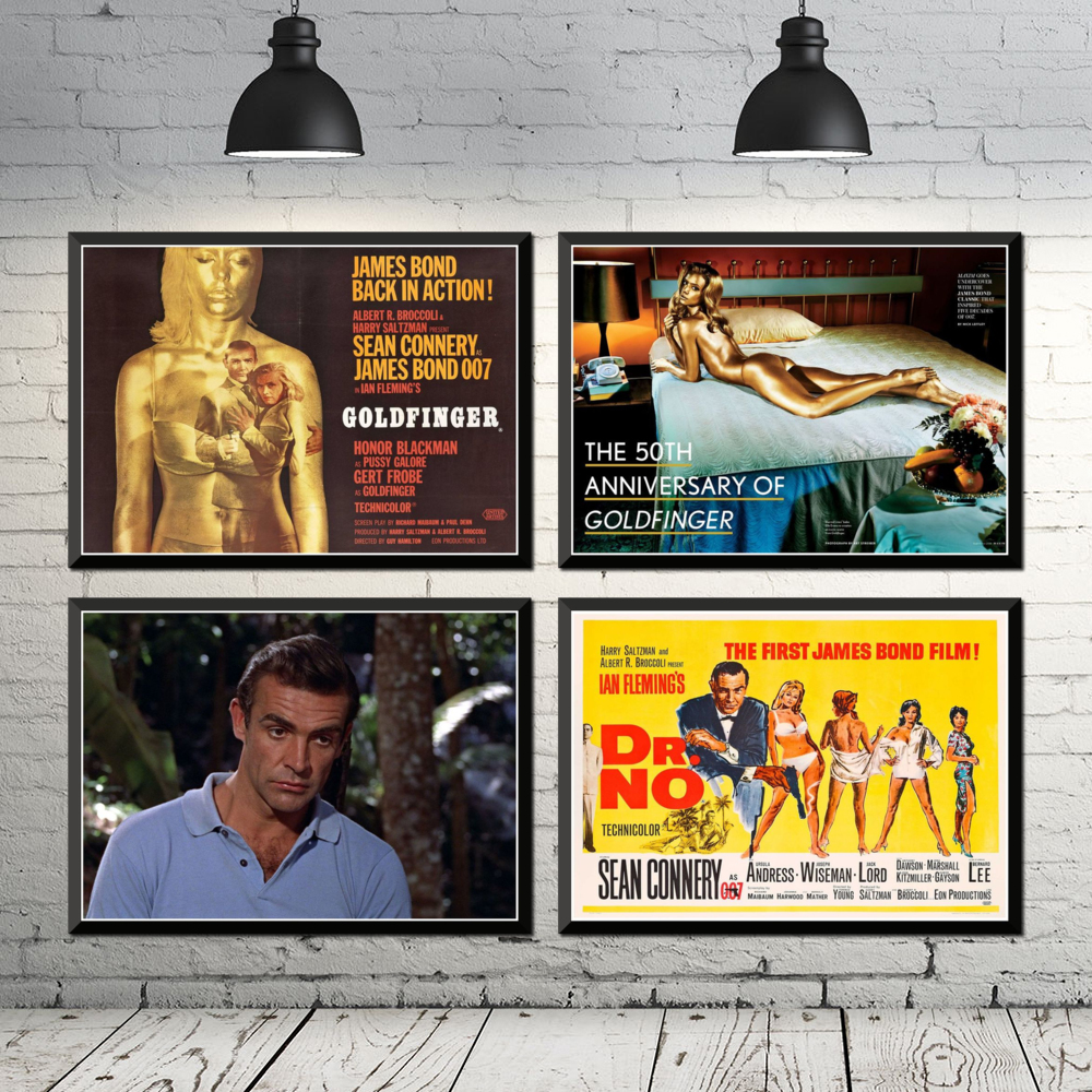 007 Goldfinger, póster clásico de película, pegatinas de pared para casa, Bar, café, 42x30cm Interruptor de luz de vidrio con Panel de cristal de 1 sentido, 1/2/3 entradas estándar UE/RU, interruptor de luz de pared de alta sensibilidad, Interruptor táctil de muro táctil de 220V