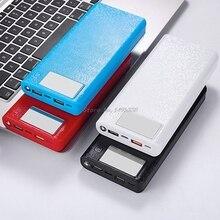 Qc 3.0デュアルusb + タイプc pd 5v/3A 8 × 18650バッテリーdiy電源銀行ボックスledライト急速充電器携帯電話タブレット