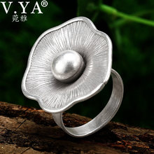 V.YA Vintage Jewelry S925 Sterling Silver Flower Ring For Women Adjustable Size Thai Silver Party Jewelry