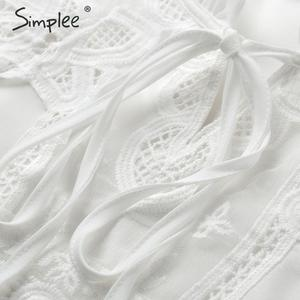 Image 5 - Simplee Elegant lace up chiffon blouse women Ruffled lace embroidery female shirts Long sleeve autumn winter ladies white tops