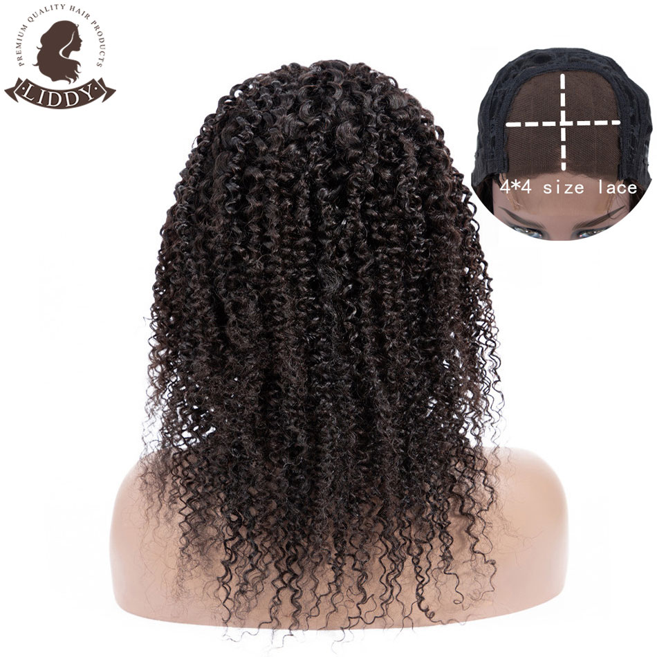 Liddy 4*4 Curly 100% Human Hair WIgs Peruvian Lace Closure Human Hair Wigs For Black Women Non-remy 8-24 Inch 150% Density Wigs