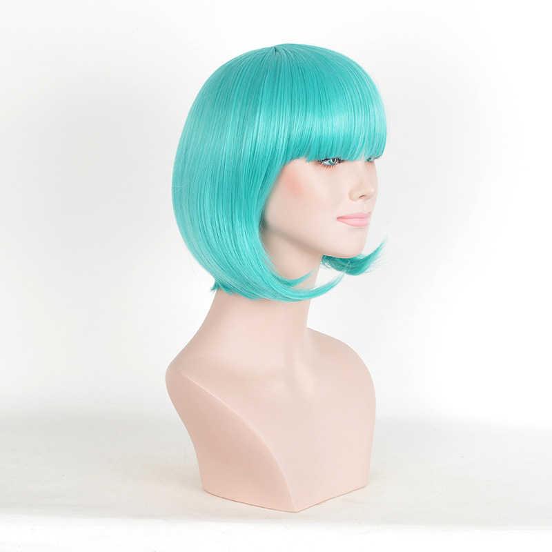 Groene Synthetische Pruik Lolita Korte Bob Pruik Met Pony Cosplay Water Wave Synthetisch Haar Pruiken Voor Vrouwen Amerikaanse Stijl