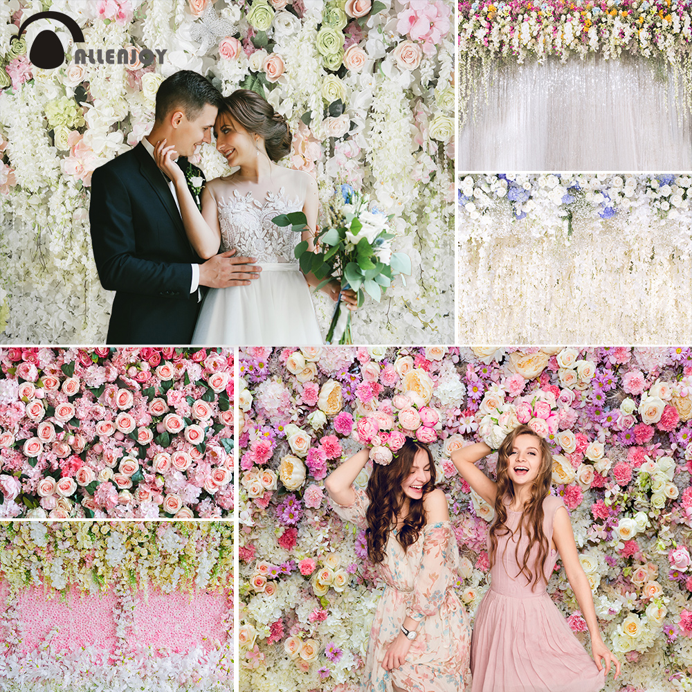 Allenjoy Wedding Ceremony Photo Wall Background Rose Flower Curtain birthday Photography Backdrop For Photo Studio photocall