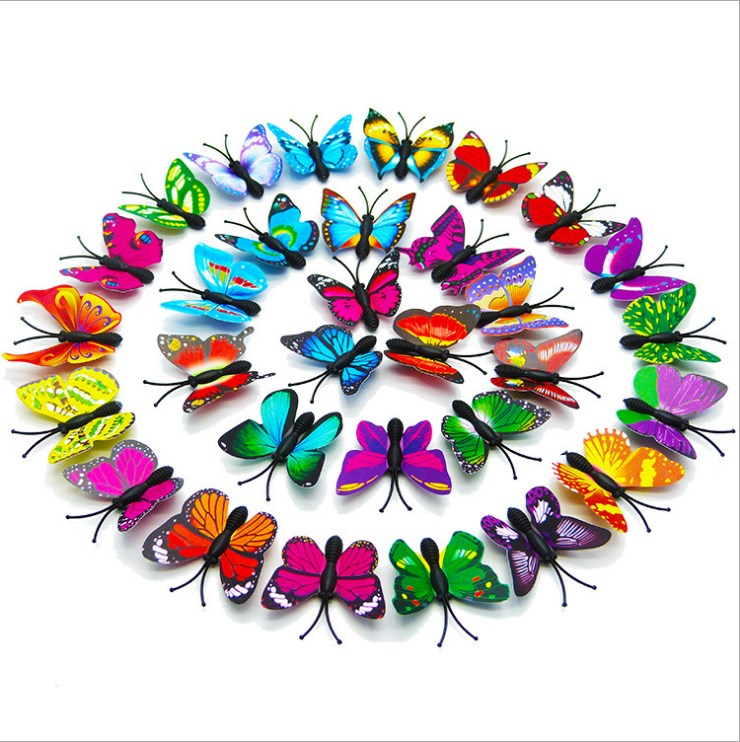 Toys Decorative Fridge Butterfly Stickers Home-Party 3d 12pcs PVC 4CM Decals Simulation