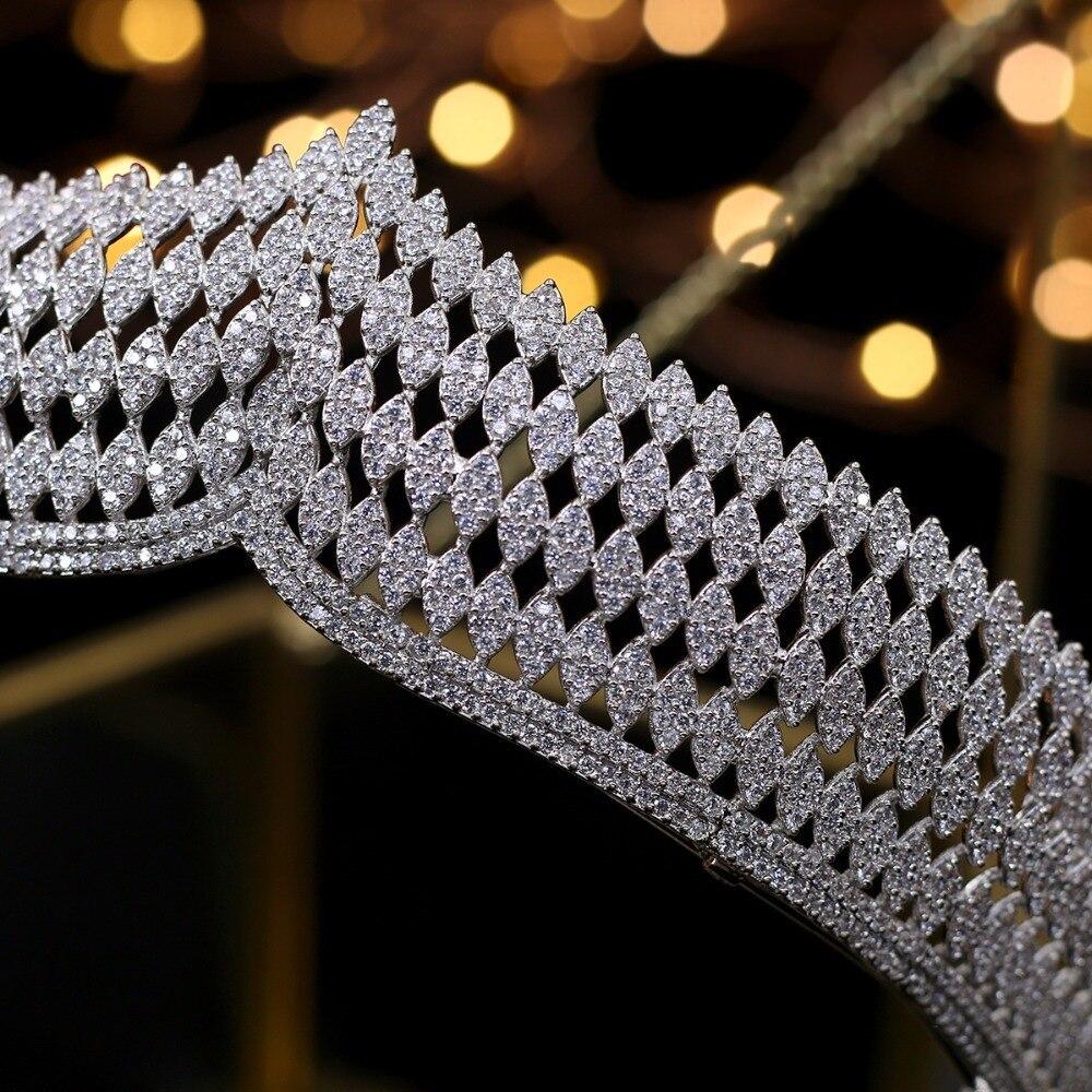 Hibride роскошь повязка благородный AAA кубический циркон короны и диадемы для невесты блестящие аксессуары для волос для свадьбы, ювелирные из... - 4