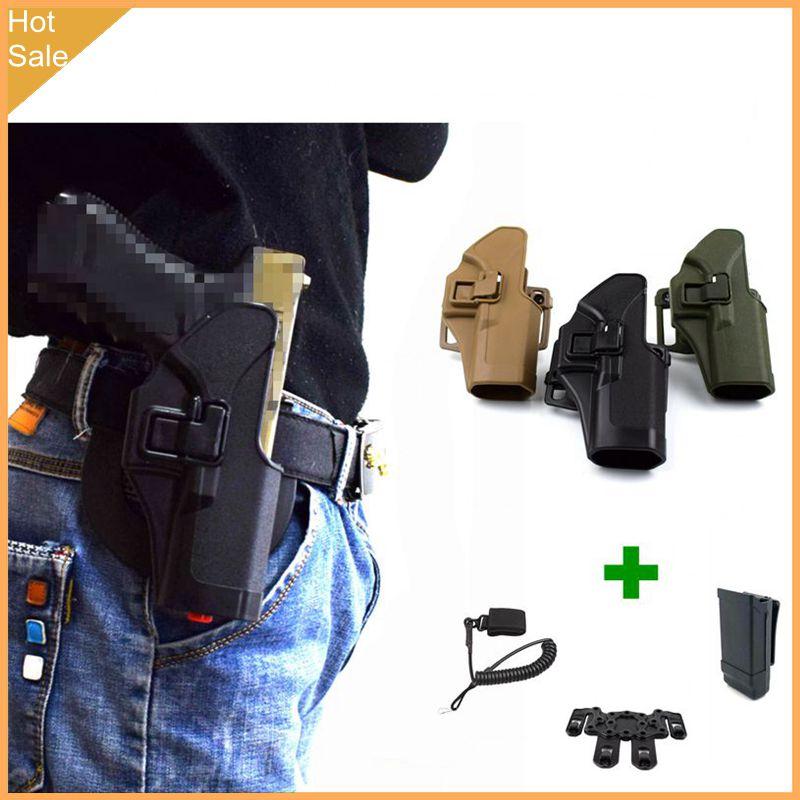 Glock tático 17 19 22 23 31 32 airsoft pistola cinto cintura arma coldre engrenagem carry caso + molle plataforma coldre adaptador