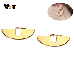 Vnox New Unique Geometric Earrings for Women Gold Tone Stainless Steel Fan-shaped Drop Earring Girl Party Gifts brinco