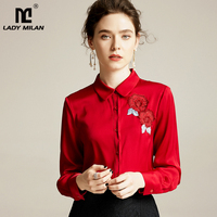 Women's Natutral Silk Shirts Peper Pan Collar Long Sleeves Embroidery Elegant Casual Fashion Blouse Shirt Top