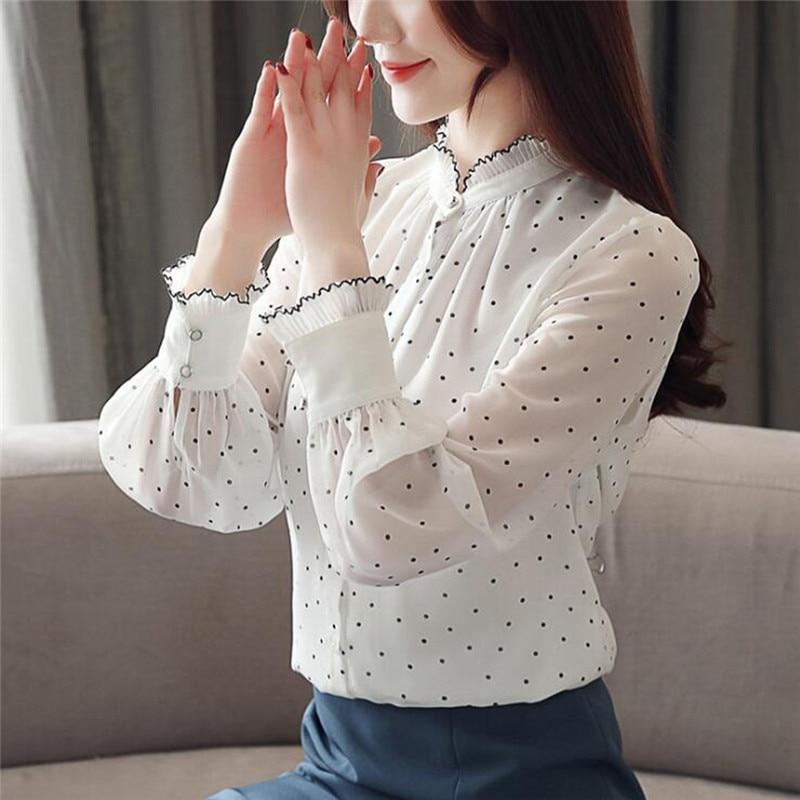 Женская Однотонная рубашка в горошек, Элегантная блузка с рукавом-лепестком и воротником мадарин, свободные повседневные топы на