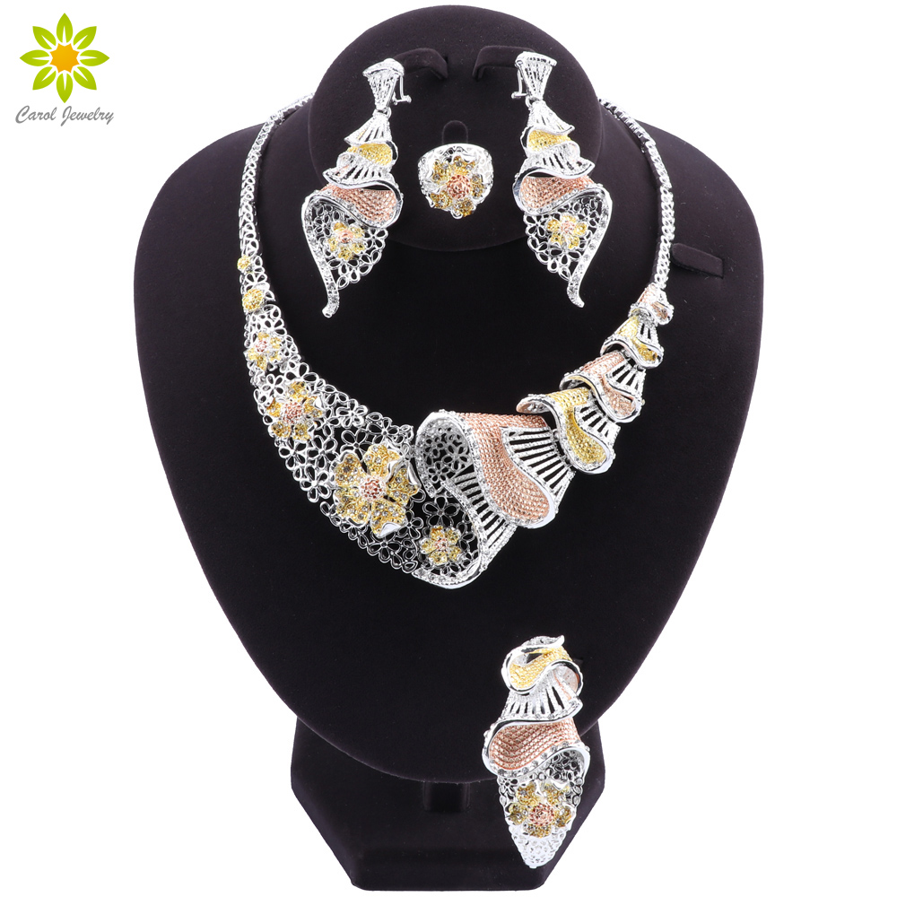 African Dubai Gold Bridal Jewelry Sets for Women Necklace Bracelet Earrings Ring Indian Wedding Party Crystal Ring Jewelry Sets