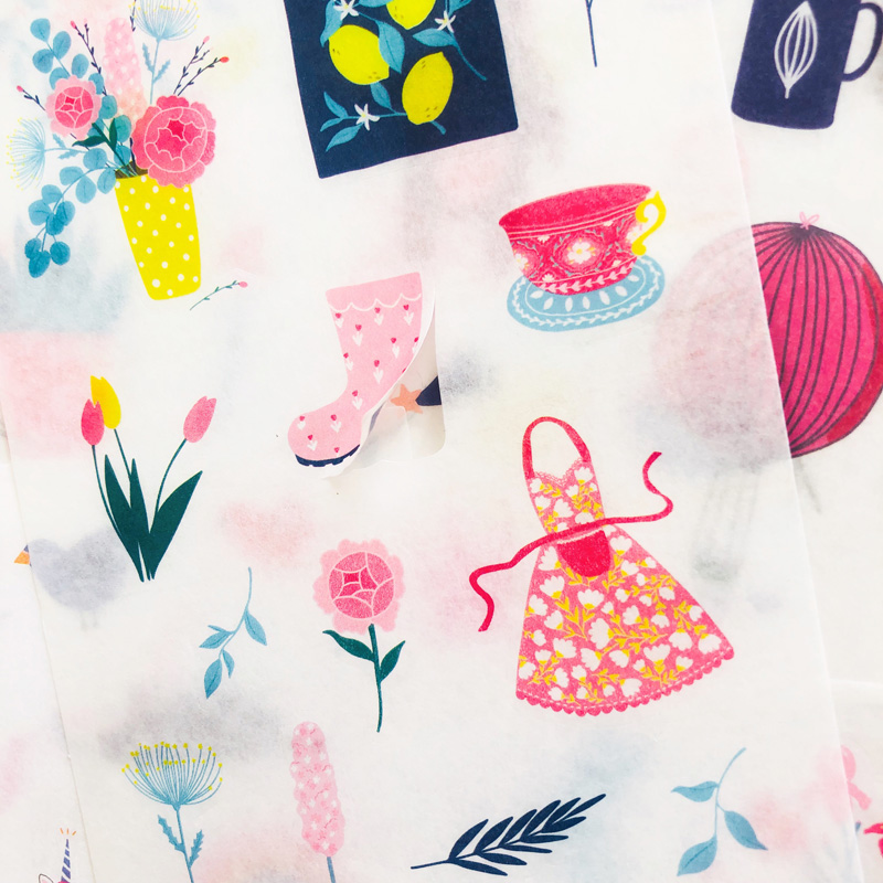 8 Sheets /Pack Pink Style Girls Leasure Life Washi Paper Sticker Hand Account Phone Decoration