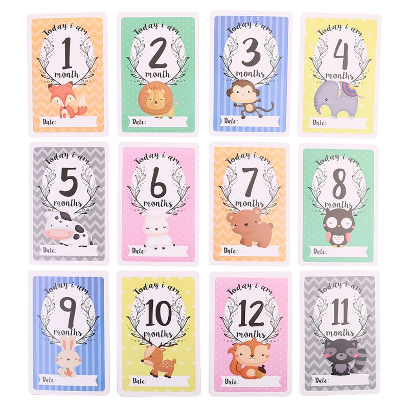 12 Sheet Milestone Photo Sharing Cards Gift Set Baby Age Cards - Baby Milestone Cards, Baby Photo Cards - Newborn Photo K1MA