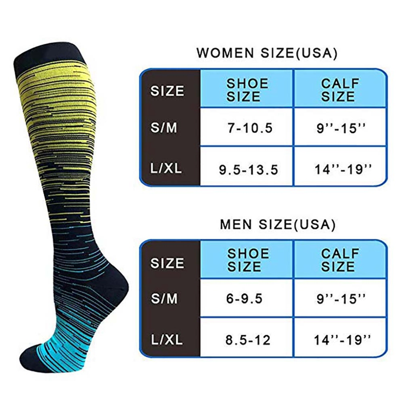 Hc98706570596459d8828459d957bfe9df - Socks Sport For Men Women Compression Gradient Color Mixing Socks Knee High/Long Nylon Hosiery Footwear Accessories S-XL Blue