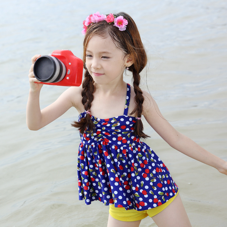 Place Of Origin Supply Of Goods South Korea Xiqi KID'S Swimwear Small Cherry Split Type KID'S Swimwear Children KID'S Swimwear