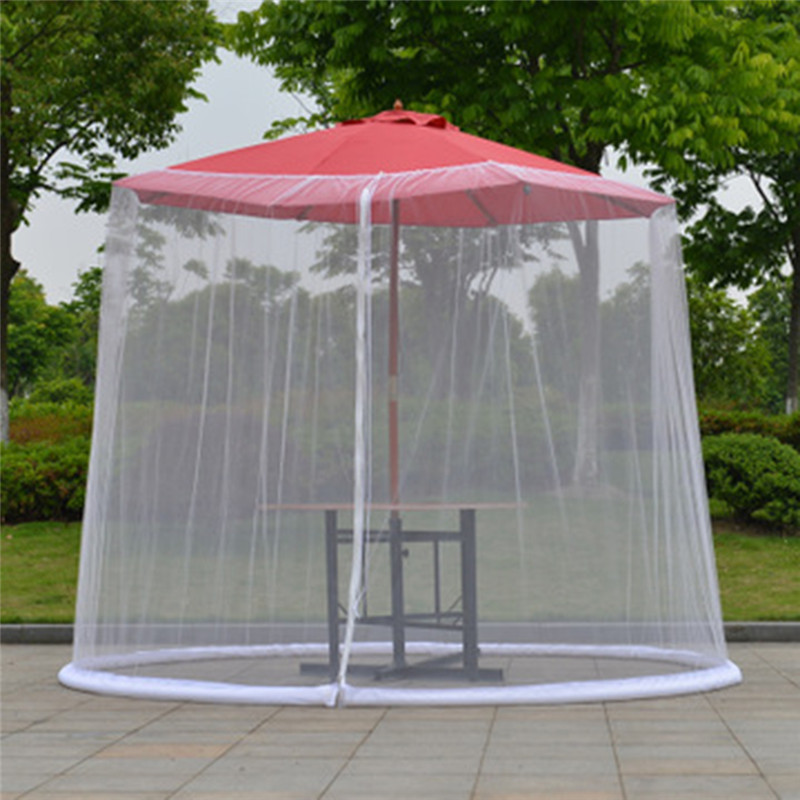 300x230cm Umbrella Cover Mosquito Netting Screen For Patio Table Umbrella Garden Deck Furniture Zippered Mesh Enclosure Cover