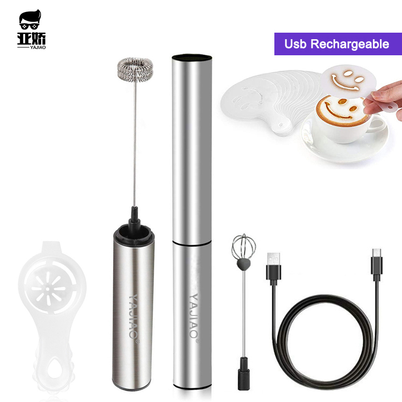 YAJIAO  Portable Rechargeable Electric Milk Frother Foam Maker Handheld Foamer High Speeds Drink Mixer Frothing Wand for Coffee