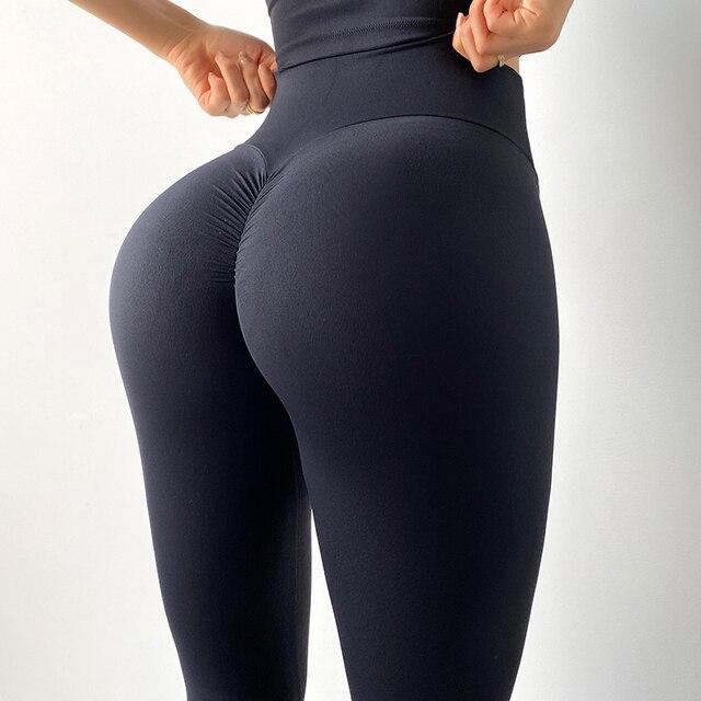 Women Leggings Yoga Pants Tights Seamless Solid Color High Waist High Elastic Women's Sports Pants 2