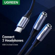 Ugreen typ C na podwójny 3.5 Jack słuchawki USB C na 3.5mm AUX podwójne słuchawki Adapter kabel Audio dla Huawei Mi10 pro Oneplus 7T