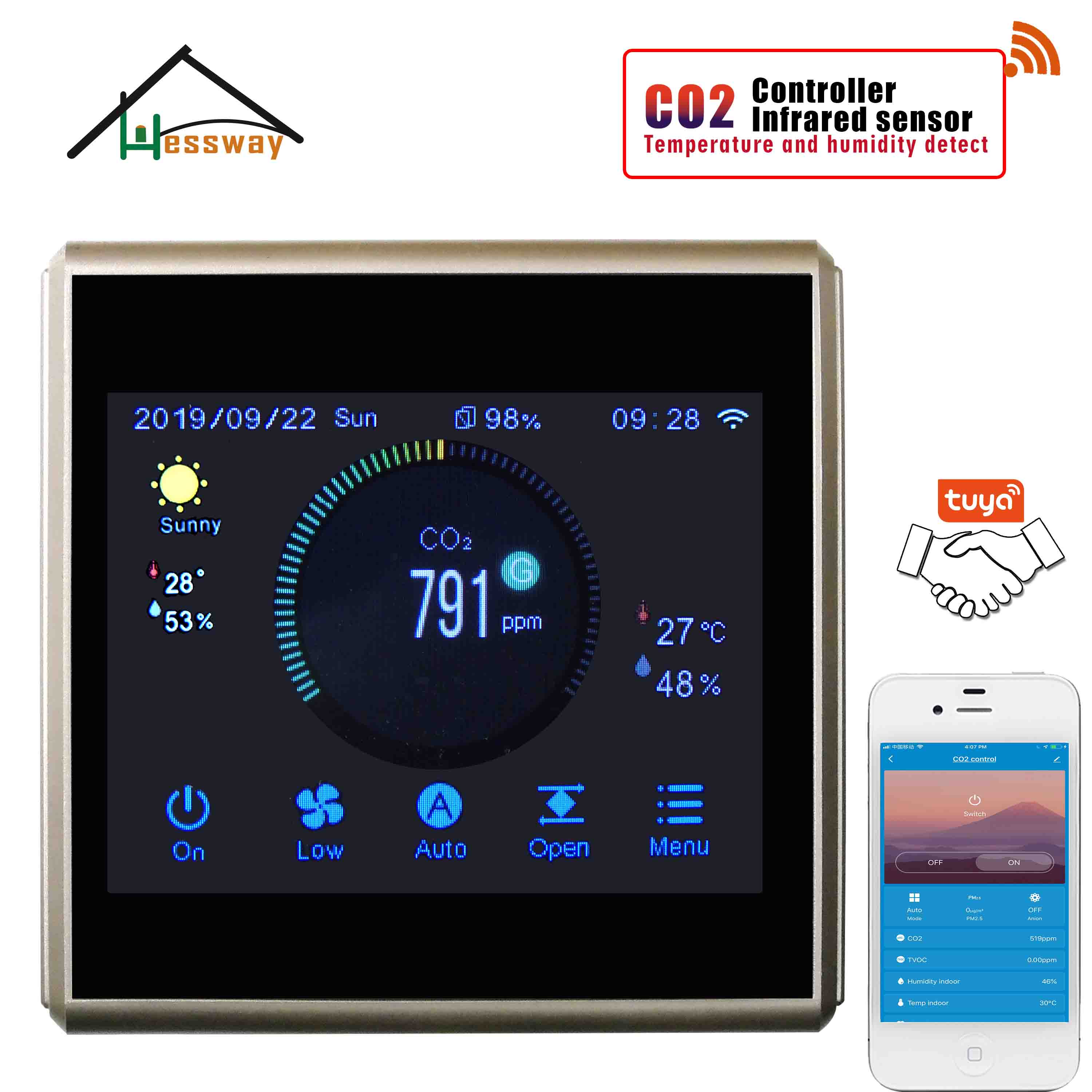 HESSWAY TUYA APP Fan Valve Regulator Air Quality Monitor Wifi Co2 Detector For Color Touch Menu Control