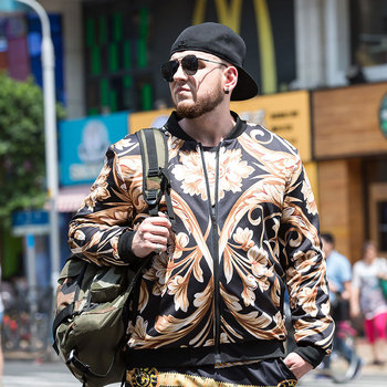 Plus size men's jacket flight coat stand collar gold print coat wholesale