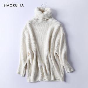 Image 2 - BIAORUINA Women Oversize Basic Knitted Turtleneck Sweater Female Solid Turtleneck Collar Pullovers Warm 2020 New Arrival