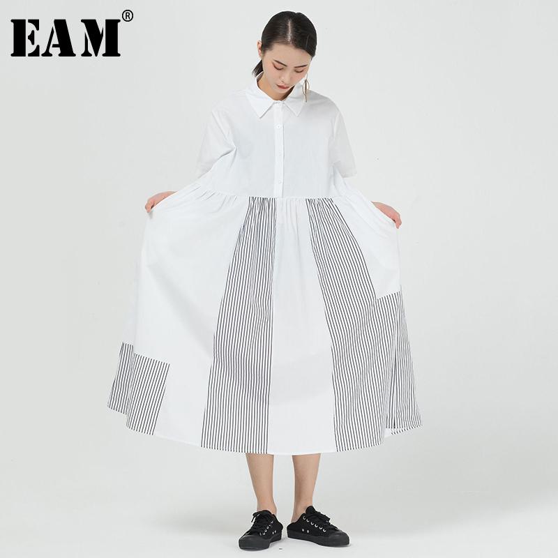 [EAM] Women Striped Split Big Size Long Shirt Dress New Lapel Short Sleeve Loose Fit Fashion Tide Spring Summer 2020 1T144