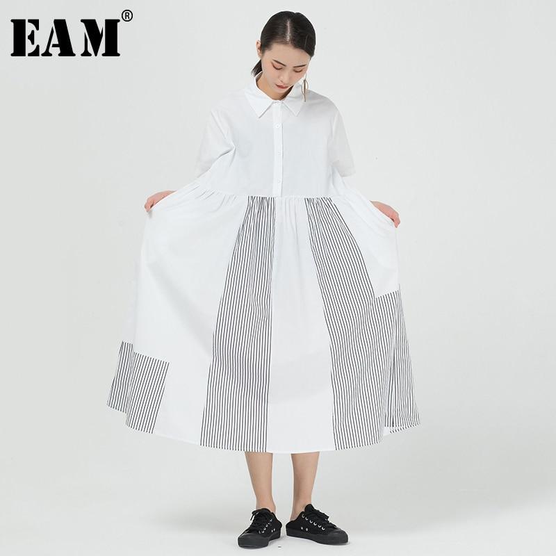 [EAM] Women Striped Split Big Size Long Shirt Dress New Lapel Short Sleeve Loose Fit Fashion Tide Spring Summer 2020 1T144