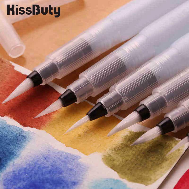 9pcs/Set Refillable Paint Brush Water Color Brush Pencil Soft Watercolor Brush Pen For Beginner Painting Drawing Art Supplies