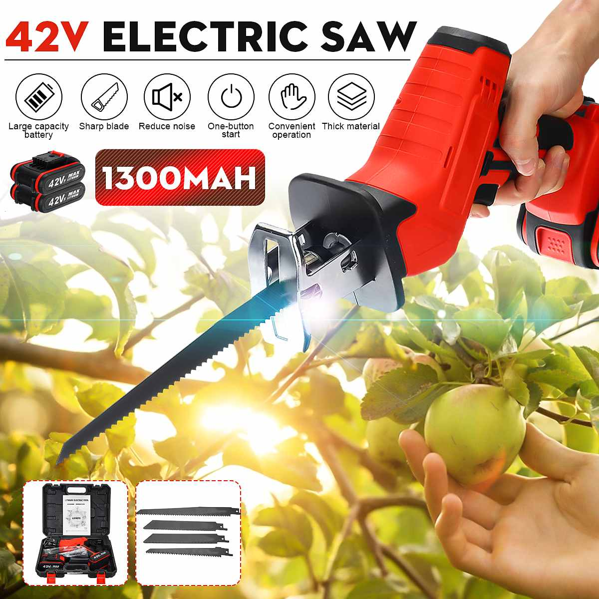 2x Battery 42V Rechargeable Cordless Reciprocating Saw Portable Woodworking Cutters +4 Blades +LED Light For Wood Metal Cutting
