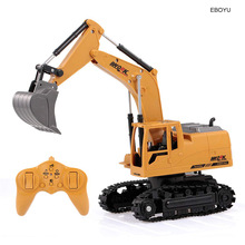 EBOYU 3853 2.4Ghz 8CH 1:24 RC Excavator Mini RC Truck Alloy Metal Simulated Excavator w/ Music LED Light Gift Toy for Kids