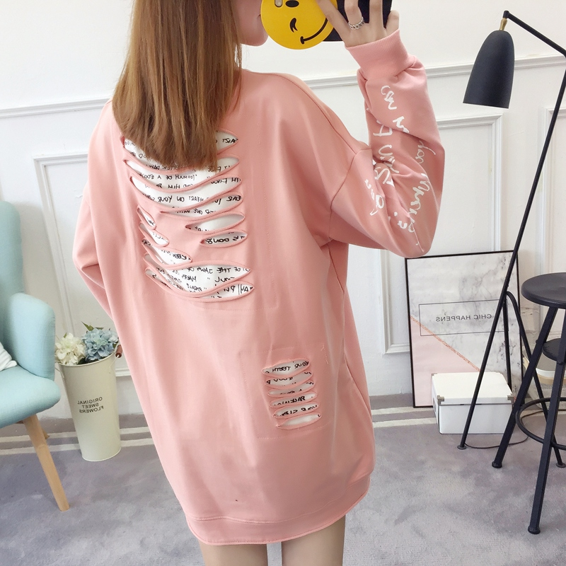 2019 autumn new Korean version of the XL T-shirt women's thin section long-sleeved loose hole wild T-shirt shirt women 68