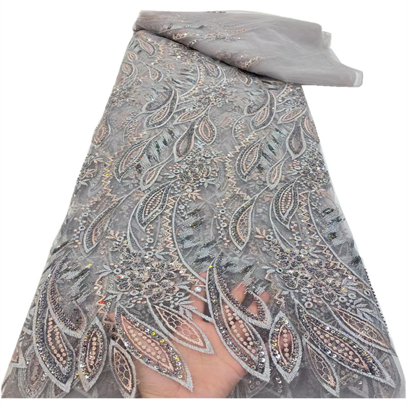 Handmade African Lace Fabric 2021 High Quality French Lace Fabric Embroidered Nigerian Tulle Lace Fabrics For Wedding RF-290