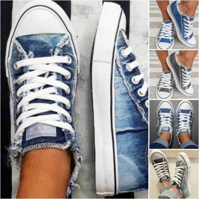2020 Top Selling Women Canvas Shoes Denim Thin Casual Spring Autumn T tied Low top Leisure Students Shoes Matching All Choice|Women's Flats| - AliExpress