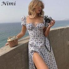 NiMi-vestido largo femenino De Verano con manga abombada, traje veraniego para mujer, con abertura en la horquilla, para Verano, 2021