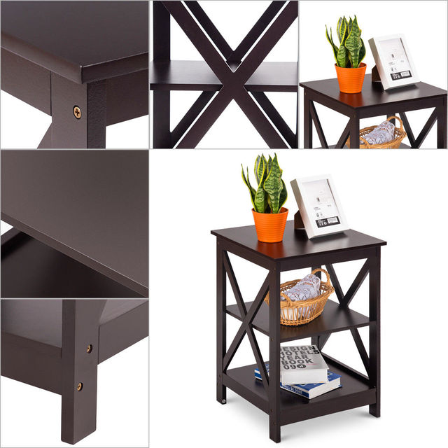 Costway 2PC 3-Tier Nightstand End Table  4