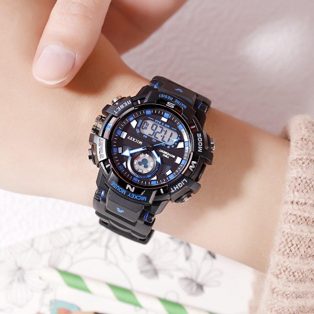 Оригинал Дисней Дети% 27 Часы Прохладный Многофункциональный Двойной Дисплей Механизм Электронный Часы Водонепроницаемый Световой Студент Часы
