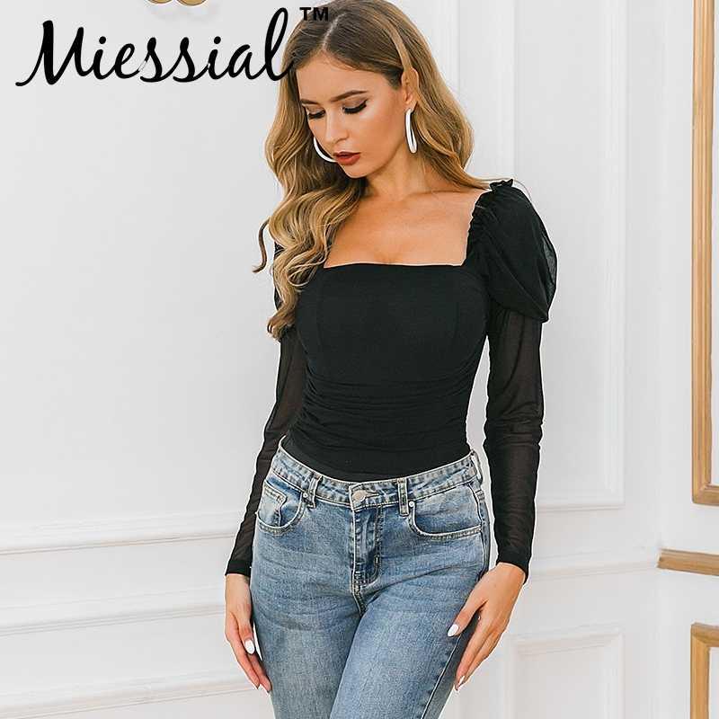 Miessial прозрачный сетчатый Черный боди Женский базовый длинный рукав блузка боди сексуальный зимний плиссированный квадратный вырез комбинезон