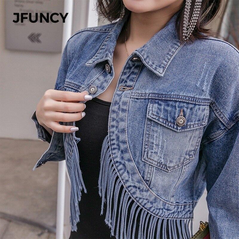 JFUNCY New Spring Women's Fringed Jean Jacket Tassel Short Jackets Korean Loose Students Streetwear Denim Coats