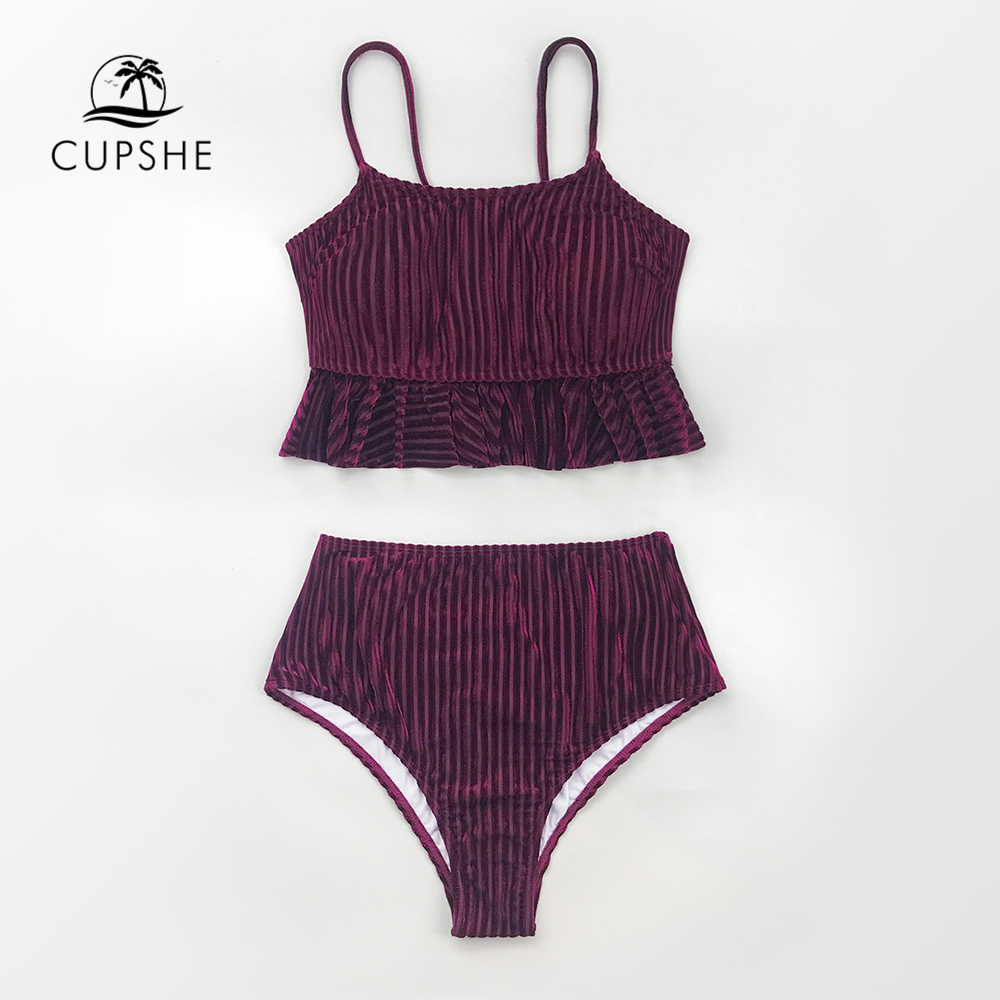 CUPSHE Solid Red Velvet Ruffled High-waist Bikini Sets Sexy Tank Top Swimsuit Two Pieces Swimwear Women 2020 Beach Bathing Suits