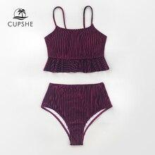 CUPSHE Solid Red Velvet Ruffled High waist Bikini Sets Sexy Tank Top Swimsuit Two Pieces Swimwear Women 2020 Beach Bathing Suits