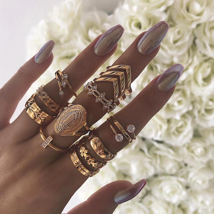 20 видов стилей Для женщин в богемном стиле винтажная корона цветок из складок сердце лотоса Star кристалл в форме листика опал кольцо с камнем вечерние украшения Серебряные кольца комплект - Цвет основного камня: 4289