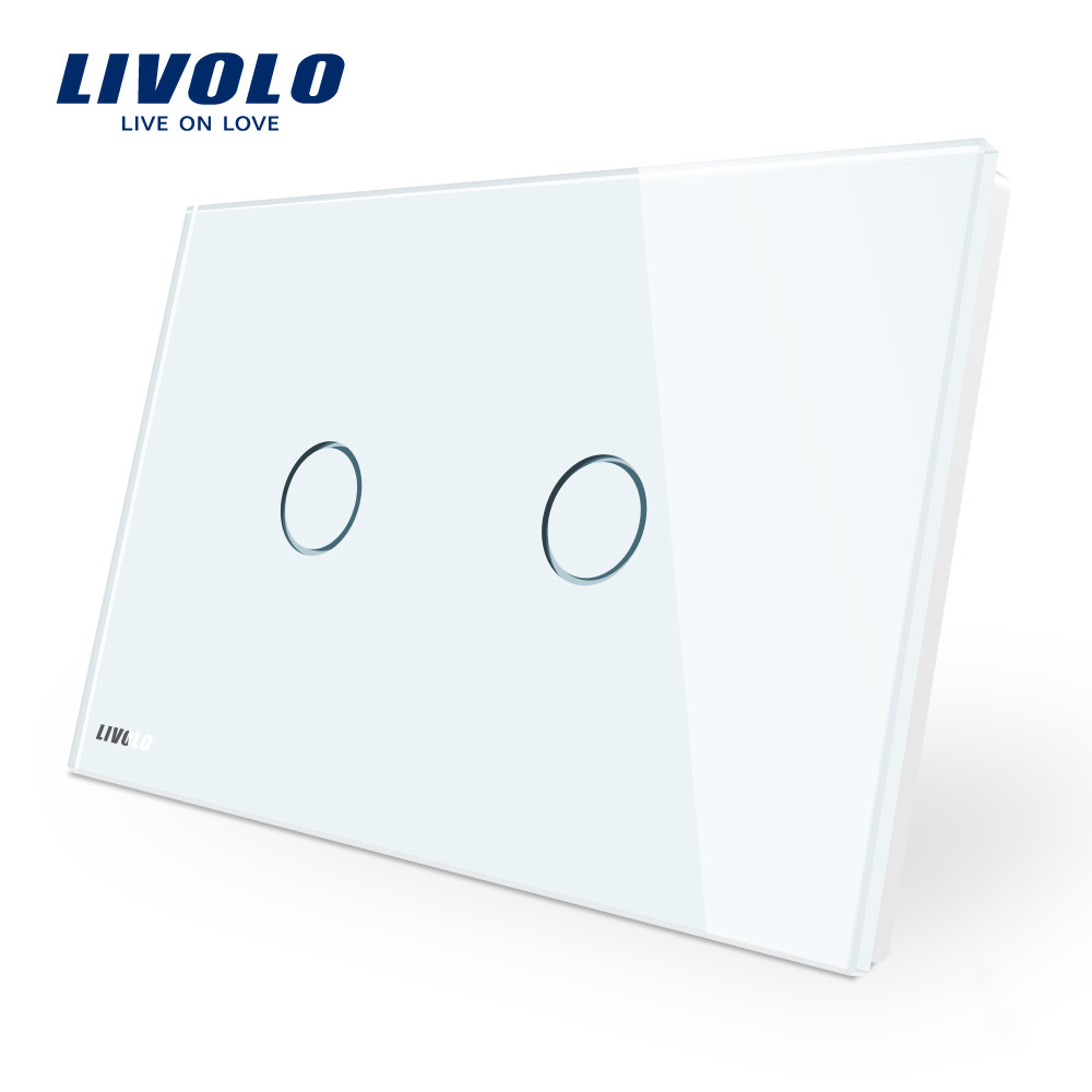 LIVOLO Wall Switch Ivory White Glass Panel  AU US C9 Standard Touch Light Switch with LED indicator dimmer remote control|livolo wall switch|glass panel switch|switch switch - title=