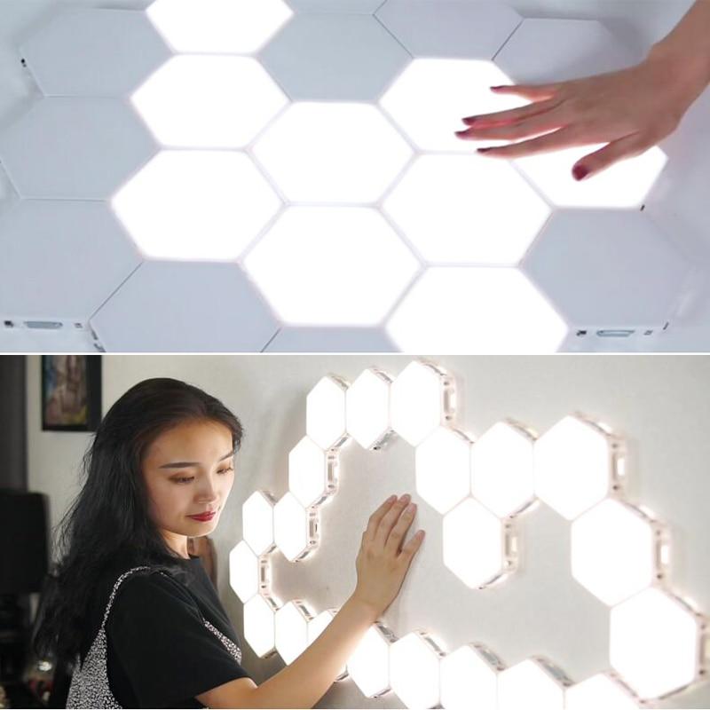quantum lampada led night light hexagonal lampadas modulares sensivel ao toque iluminacao magnetica hexagons criativo decoracao