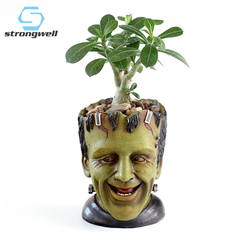 Strongwell FRANKENSTEIN Flower Pot Container Resin Flower Pot Wack Science Man Figurine Desktop Decoration Planter Flowerpot