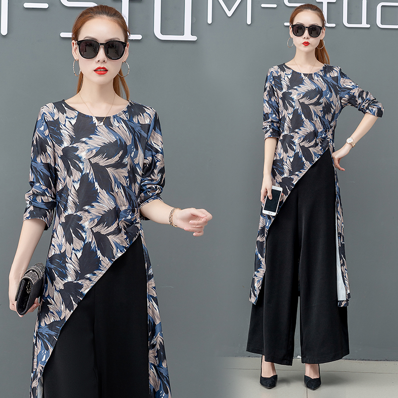 Printed Two Piece Sets Outfits Women Plus Size Splicing Long Tops And Wide Leg Pants Suits Elegant Office Fashion Korean Sets 42