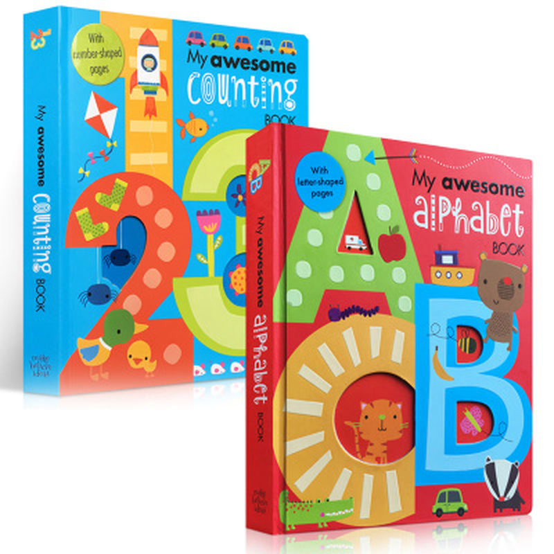 2 Books / Set My Awesome Alphabet Number English Cardboard Books Baby Kids Children Learning Educational Word Book Letter Shaped
