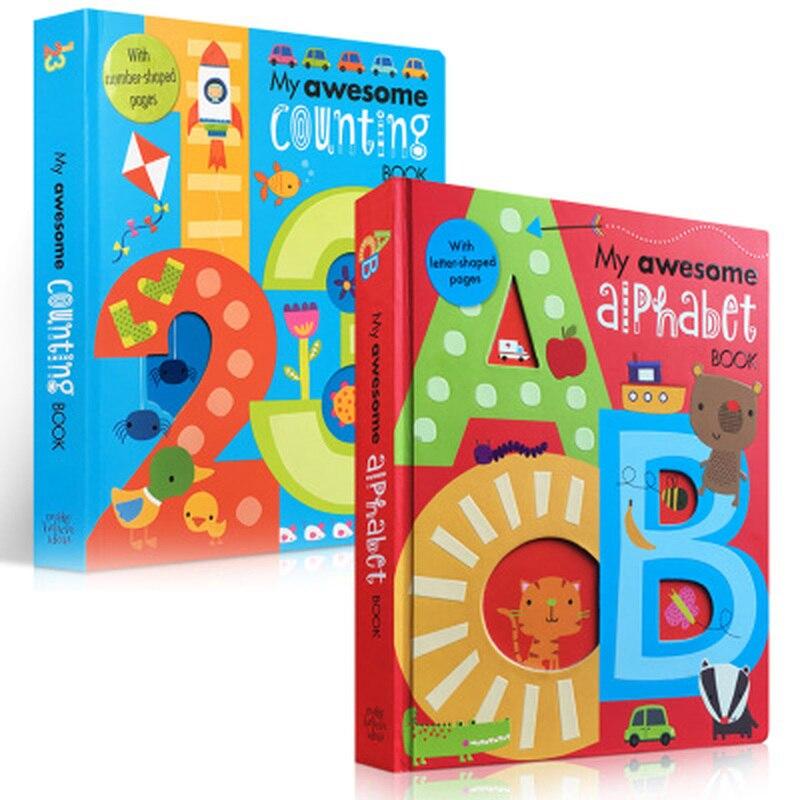 2 libros/juego mi increíble número de alfabeto libros de cartón inglés bebé niños aprendizaje educativo palabra libro en forma de letra    1