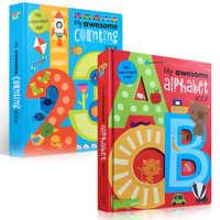 2 livros/Definir a Minha Incrível Número Alfabeto Inglês Livros De Papelão Bebê Crianças crianças Aprendizagem Educacional Livro Palavra Em Forma de Carta