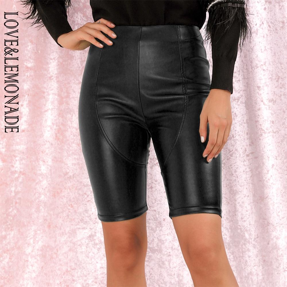LOVE&LEMONADE Sexy Black Stitching Elastic Faux Leather Slim Shorts LM82013